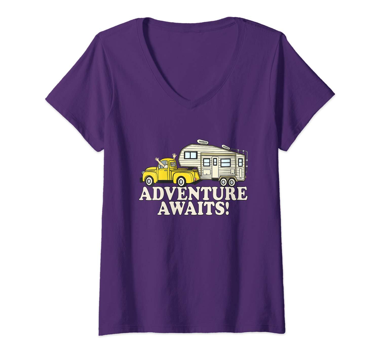 RV Tshirts 5th wheel ADVENTURE AWAITS! Camper Gift V-Neck T-Shirt
