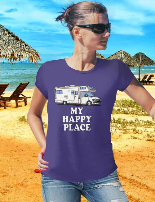 Motorhome T Shirts MY HAPPY PLACE Class C T-Shirt