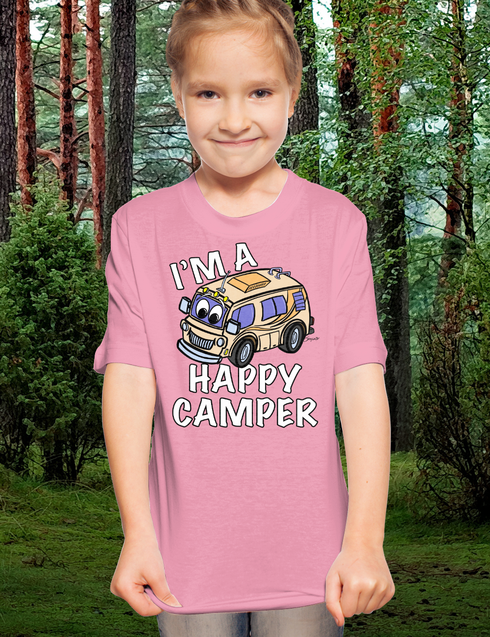 Camping T Shirts for kids funny HAPPY CAMPER RV Gift