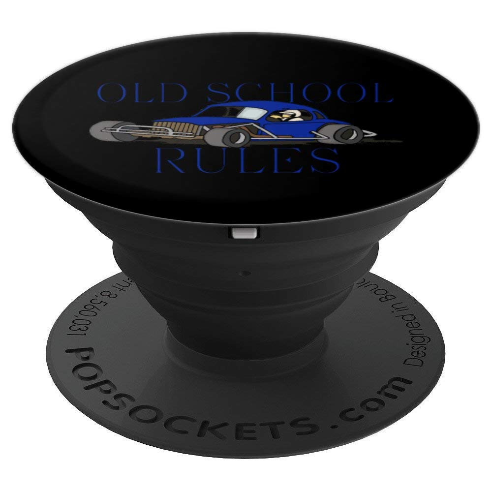Stock Car Shirt OLD SCHOOL RULES Blue coupe racing gift popsocket
