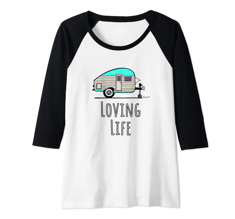 Camping Life Tshirt Vintage Camper LOVING LIFE baseball shirts