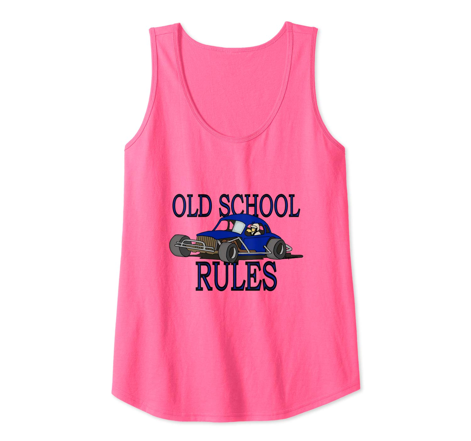 Stock Car Shirt OLD SCHOOL RULES Blue coupe racing gift tank top