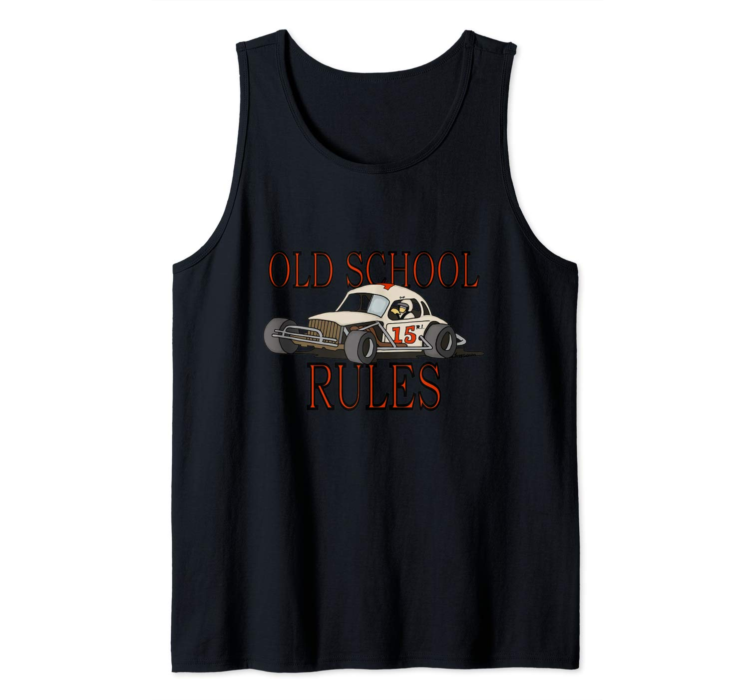 Stock Car Shirt OLD SCHOOL RULES White coupe racing gift tank top