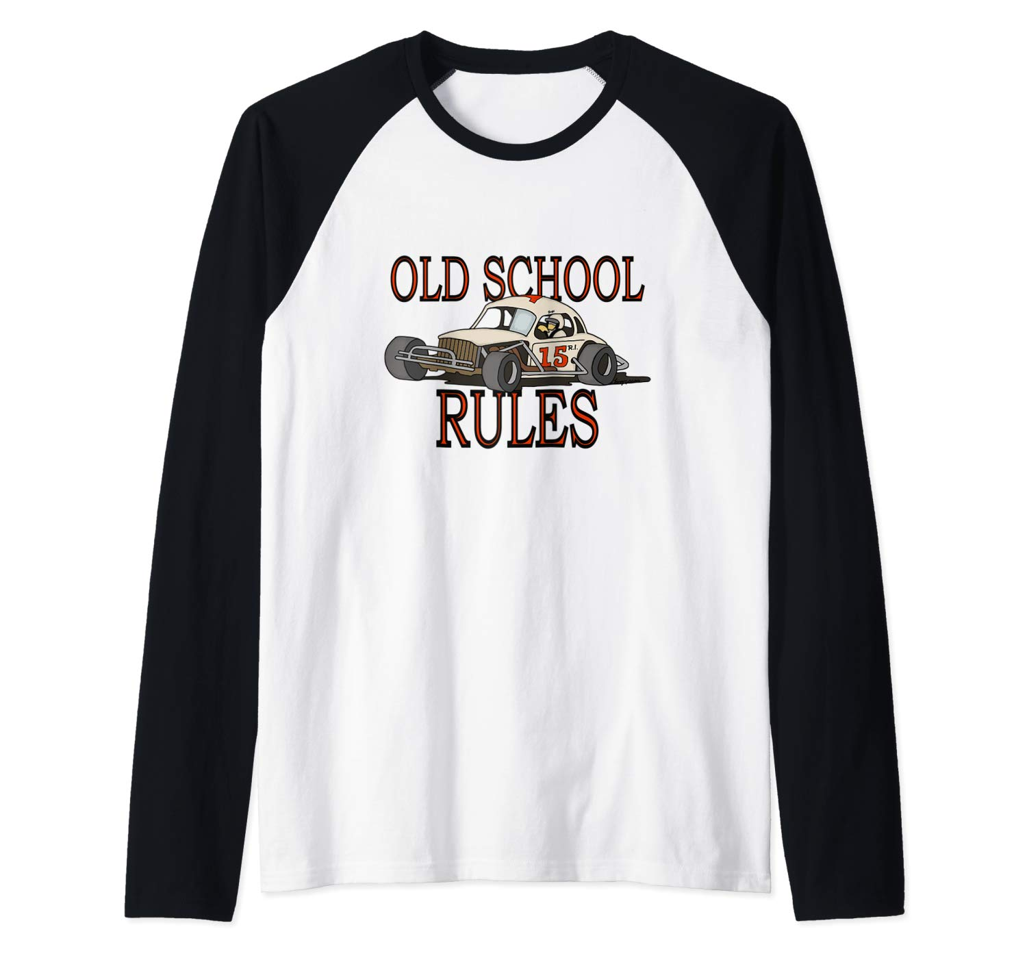 Stock Car Shirt OLD SCHOOL RULES White coupe racing gift baseball shirt
