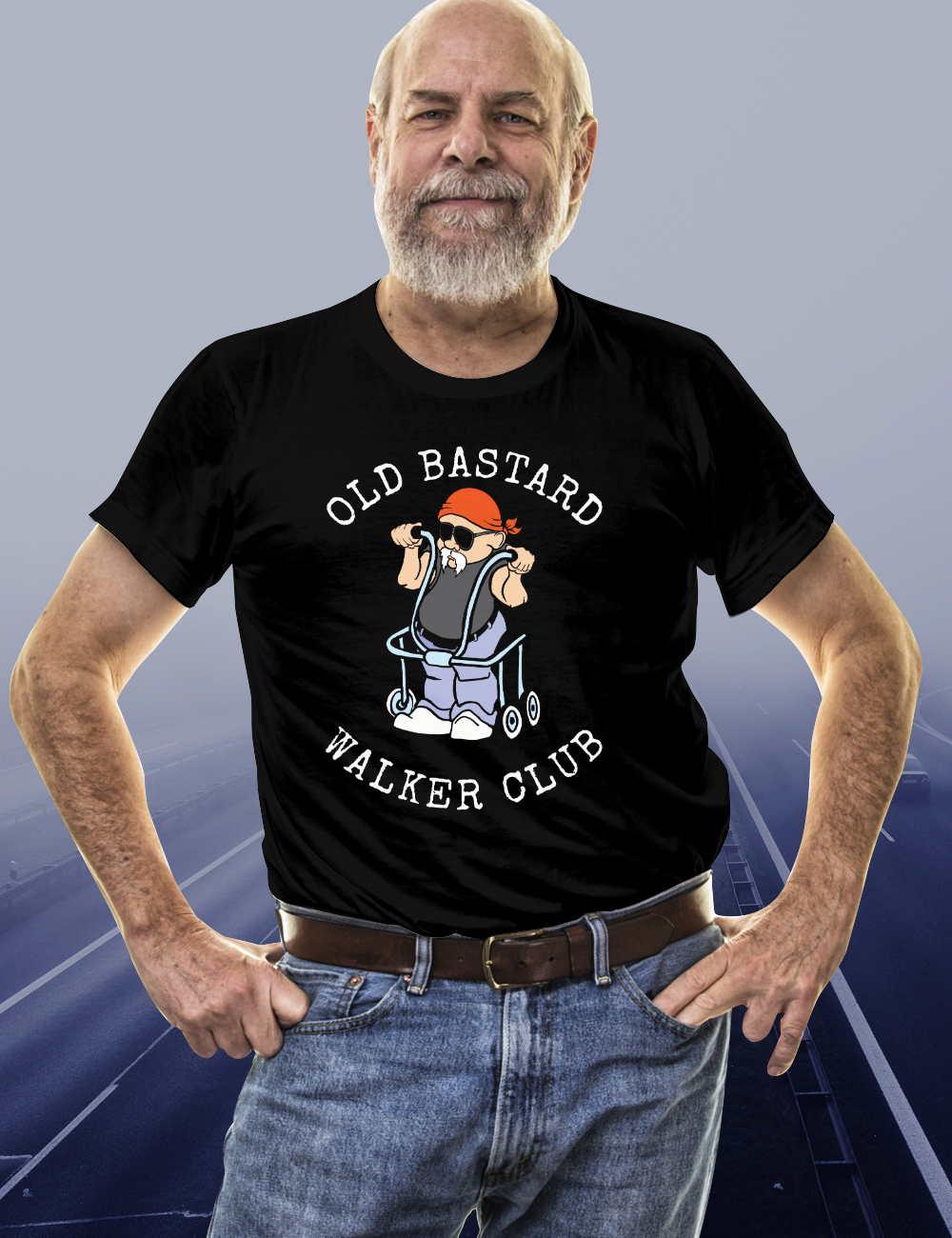 Old Biker T Shirts OLD BASTARD WALKER CLUB