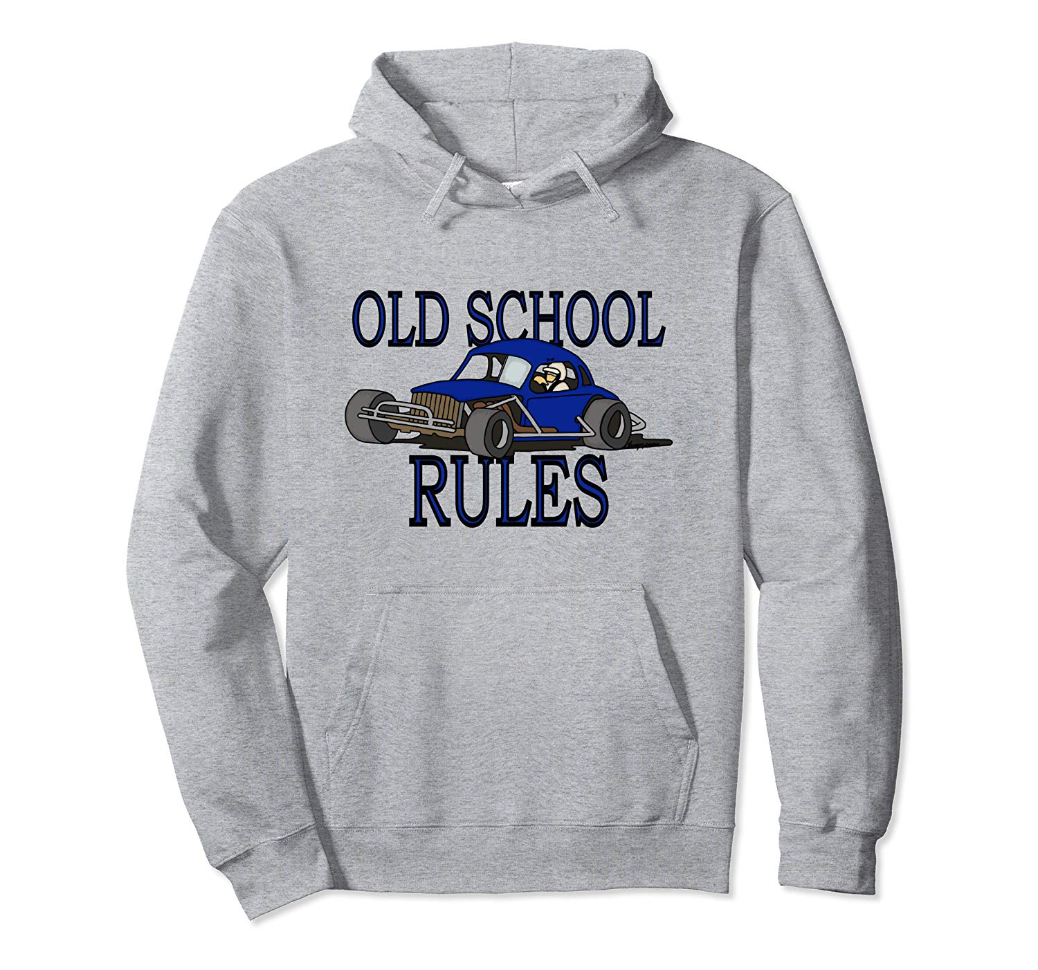 Stock Car Shirt OLD SCHOOL RULES Blue coupe racing gift hoodie