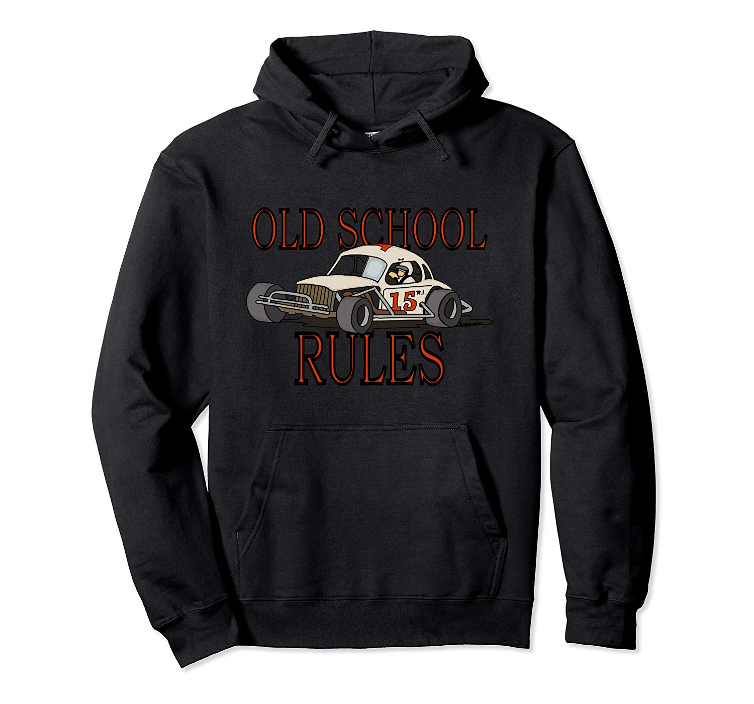 Stock Car Shirt OLD SCHOOL RULES White coupe racing gift hoodie