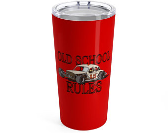 Stock Car OLD SCHOOL RULES White coupe gift Tumbler 20oz