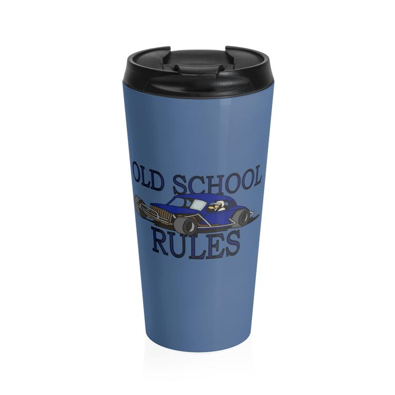 Stock Car Shirt OLD SCHOOL RULES Blue coupe 15oz. Stainless Steel Travel Mug