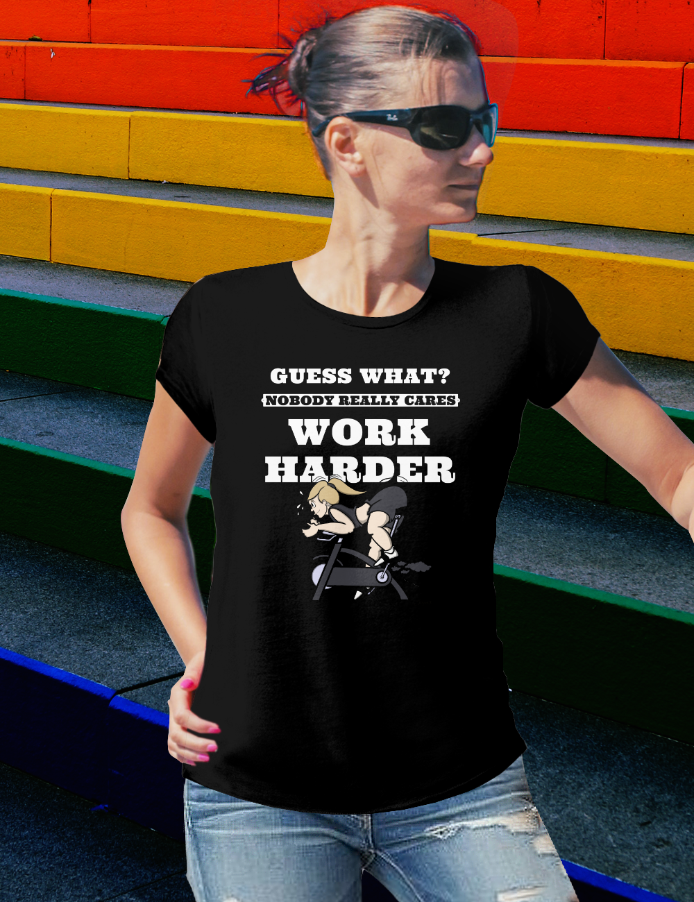 Spin Shirts Women NOBODY REALLY CARES WORK HARDER Tshirt