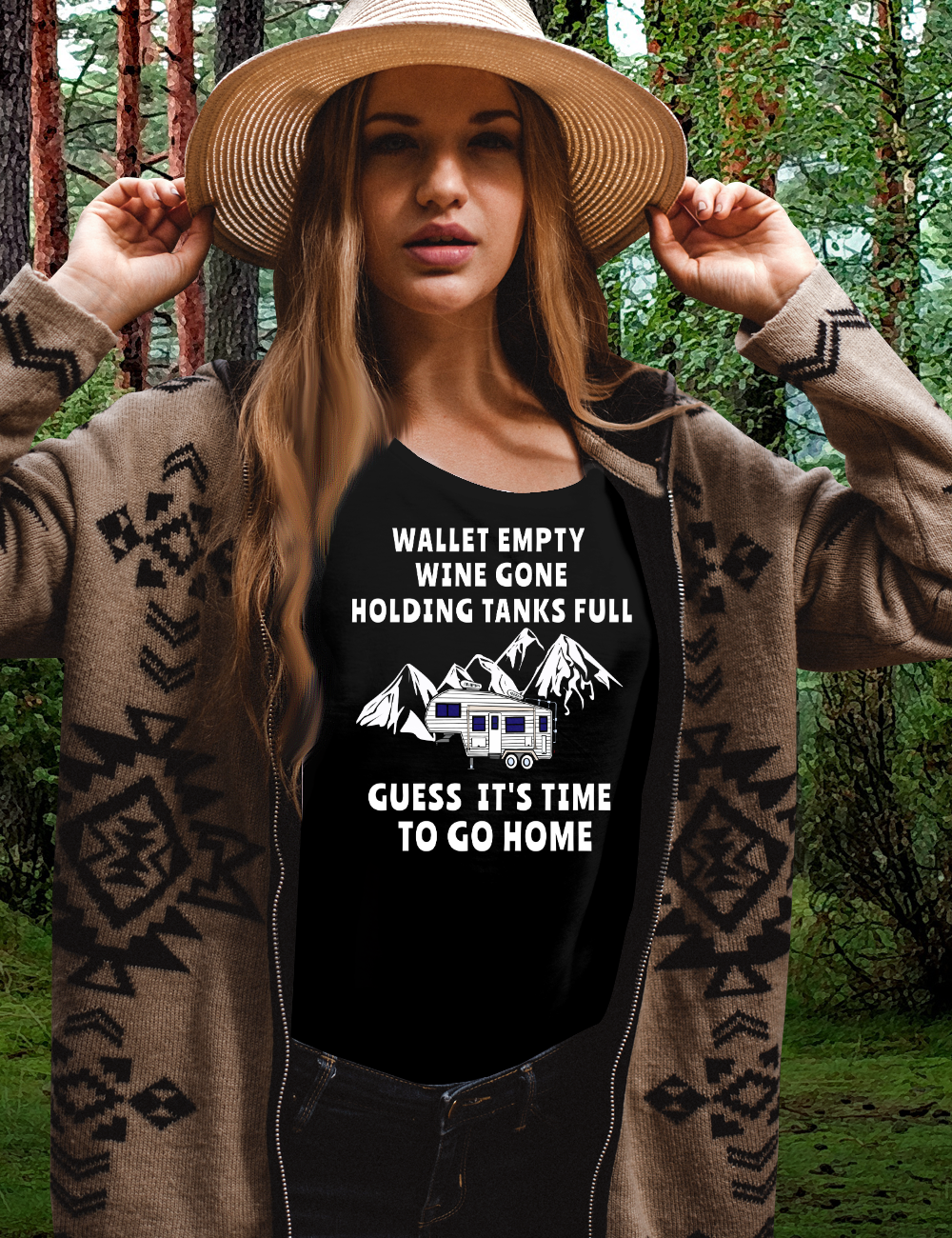 5th Wheel Funny Wine Lover TIME TO GO HOME camping T-Shirt