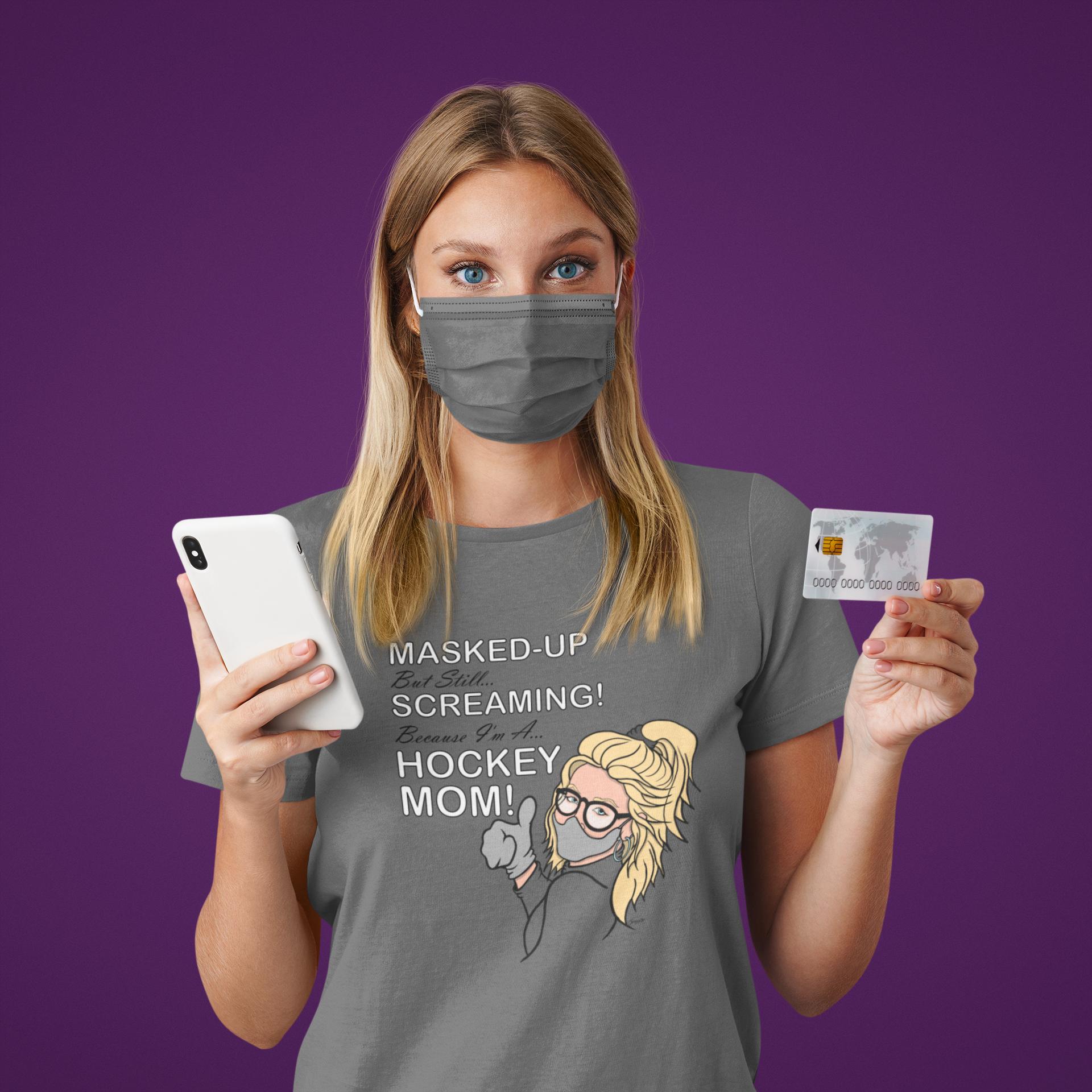 Ice Hockey Mom Masked Up T-Shirt